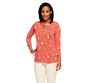 Susan Graver Liquid Knit Printed Top with Keyhole Detail - A253034