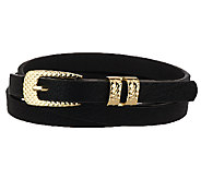 Susan Graver Skinny Belt with Textured Metal Buckle - A257134