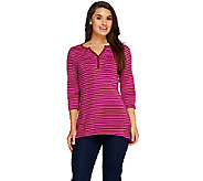 Denim & Co. Perfect Jersey Stripe 3/4 Sleeve Top w/ Trapeze Hem - A257334
