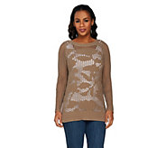 Liz Claiborne New York Floral Open Stitch Pullover Sweater - A263434