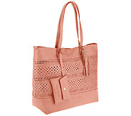 Isaac Mizrahi Live! Bridgehampton Leather Cut-out Tote - A264634