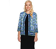 Joan Rivers Vintage Scroll Jersey Knit Jacket with 3/4 Sleeves - A264734
