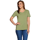 Denim & Co. Essentials Scoopneck T-Shirt w/ Trim - A266434