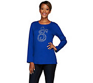 Quacker Factory Magical Swirl Holiday Long Sleeve Top - A268434