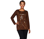Bob Mackies Long Sleeve Jewel Neck Sequin Front Knit Tunic - A271134