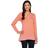 As Is LOGO by Lori Goldstein Sweater Knit Top with Twist V-neck - A273234
