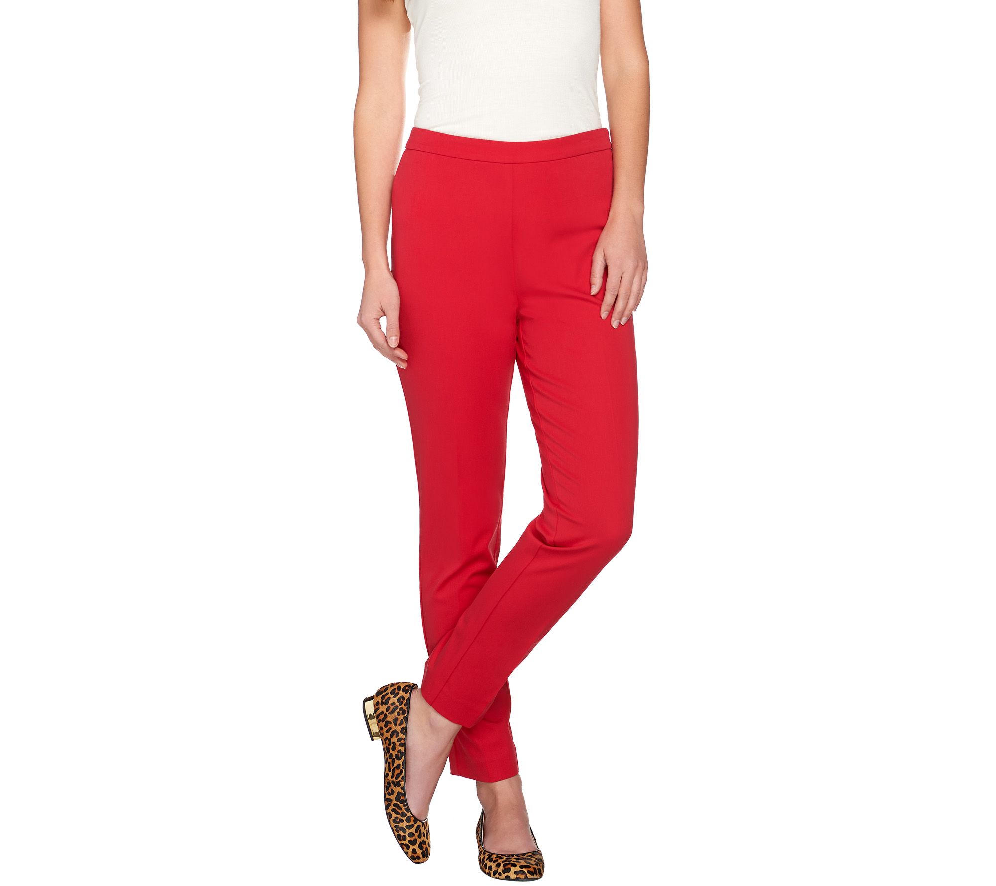 Susan Graver Coastal Stretch Side Zip Slim Leg Ankle Pants - Tall - A273834