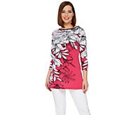 Susan Graver Printed Liquid Knit 3/4 Sleeve Tunic - A274434