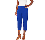 As Is Susan Graver Coastal Stretch Comfort Waist Zip Front Capri Pants - A274834