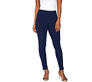 Susan Graver Weekend Cotton Modal Ankle Leggings with Side Slits - A275234