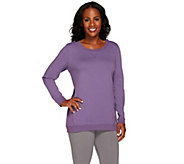 As Is Denim & Co. Active French Terry Scoop Neck Top with Seaming - A276034