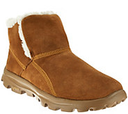 As Is Skechers GOwalk Suede Faux Fur Boots w/ Memory Form Fit - A276534