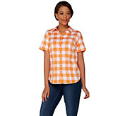 Denim & Co. Gingham Button Front Short Sleeve Shirt - A277634