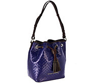 As Is Dooney Dooney & Bourke Woven Embossed Leather Drawstring Bag - A279034