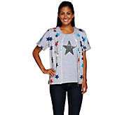 As Is Quacker Factory Short Sleeve Zip Front Jacket & Star Tank - A279534