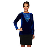As Is Bob Mackies Opulent Knit Sequin and Jeweled Top - A280634
