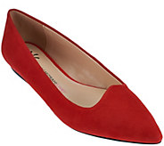 As Is Isaac Mizrahi Live! Suede Pointed Toe Ballet Flats - A281034