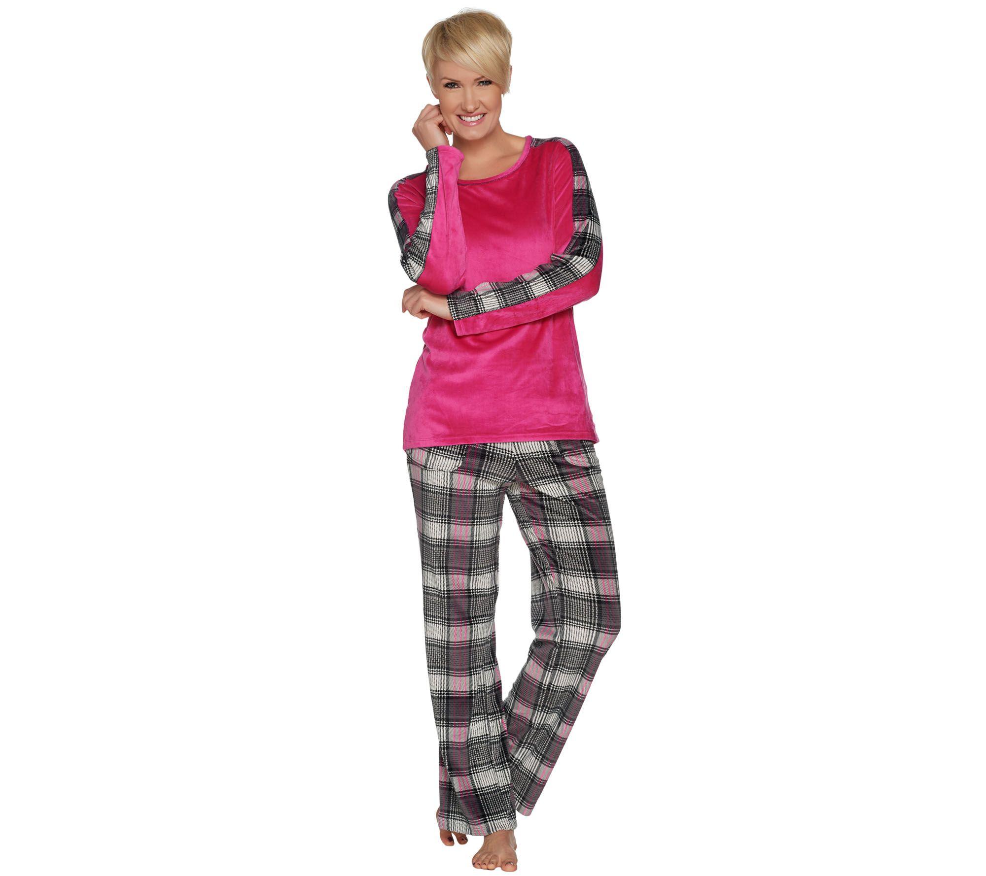 cuddl duds ultra plush velvet fleece novelty print pajama set page 1 u2014 qvccom - Cuddleduds