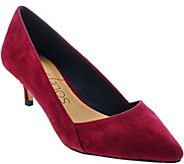 As Is Sole Society Suede Pointed Tow Kitten Heel Pumps - Desi - A283834