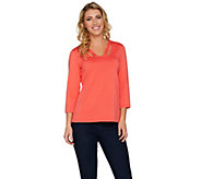 Susan Graver Butterknit 3/4 Sleeve Top - A286734