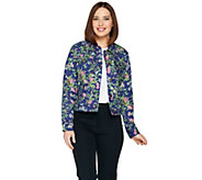 C. Wonder Botanical Floral Print Denim Jean Jacket - A288834