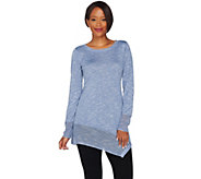 As Is LOGO by Lori Goldstein Knit Sweater w/ Textured Stitch & Angled Hem - A289034