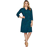 H by Halston Regular 3/4 Sleeve Printed Wrap Dress - A294234