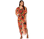 As Is Denim & Co. Beach Floral Printed Caftan with Waist Tie - A302034