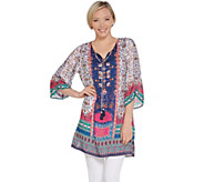 Tolani Collection Printed Woven Tunic w/ Front Tassels - A307934