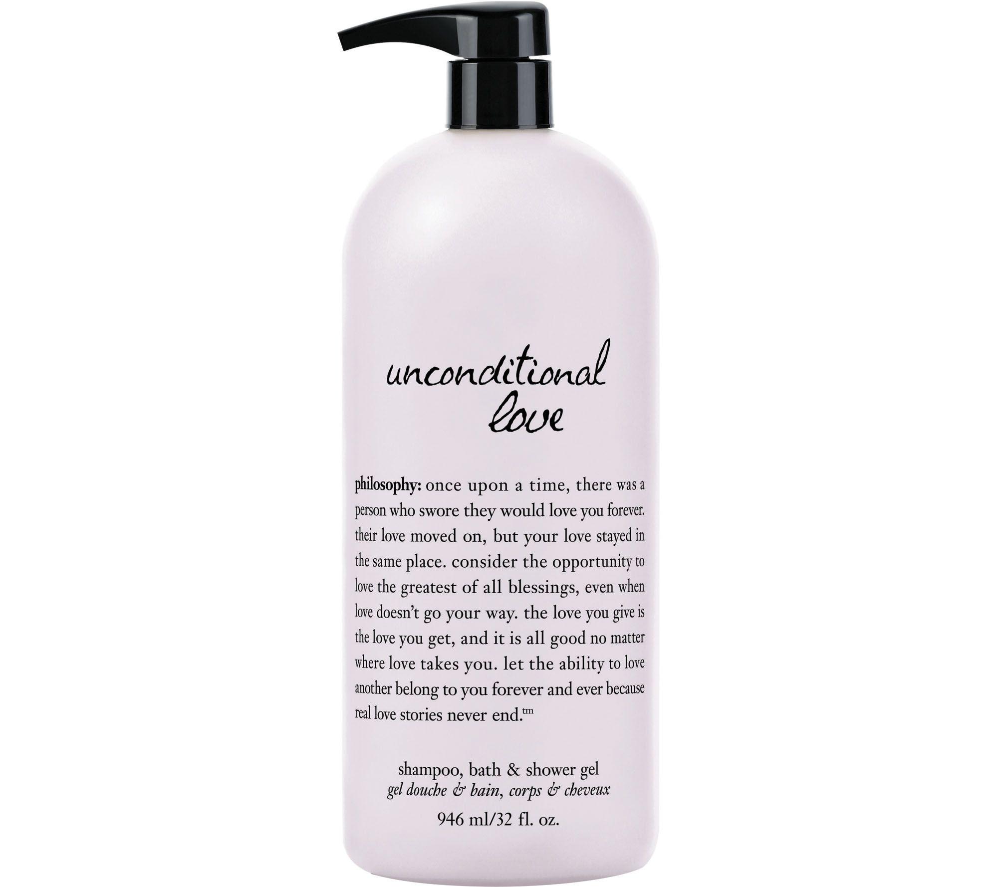 bath soaps gels bath body beauty qvc com philosophy unconditional love super size bath shower gel 32 oz a209835