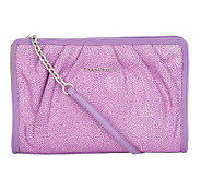 Judith Ripka Lenox Stingray EmbossedLeather Pleated Clutch - A215235