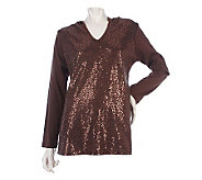 Quacker Factory Sequin Front Long Sleeve Hoodie - A217035