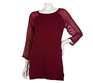 K-DASH by Kardashian Sweater with Georgette Sleeve - A219635