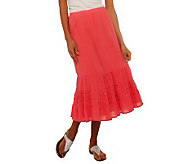 Denim & Co. Gauze Tiered Skirt with Eyelet Trim - A222235