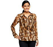 Kris Jenner Kollection Python Print Sheer Blouse with Tank - A227635