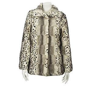 Product image of Dennis Basso Snow Lynx Faux Fur Leopard Print Coat