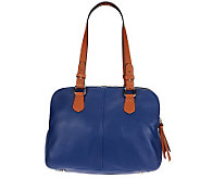 Isaac Mizrahi Live! Bridgehampton Triple Zipper Leather Satchel - A230535