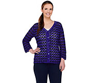 Liz Claiborne New York Bi-Color Crochet Cardigan - A230635
