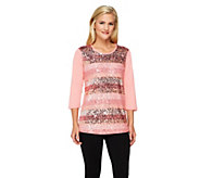 Quacker Factory Sequin and Lace 3/4 Sleeve Knit Top - A230735