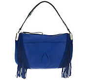 As Is B. Makowsky Pebble Leather Zip Top Shoulder Bag - A230835