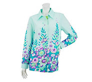 Bob Mackies Long Sleeve English Garden Button Front Oxford Top - A233335