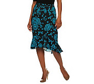 Linea by Louis DellOlio Paisley Print Skirt with Hi-Low Hem - A234435