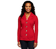 Susan Graver Weekend French Terry Single Breasted Button Front Jacket - A235635