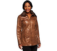 Dennis Basso Embossed Light Weight Faux Leather Jacket - A236735