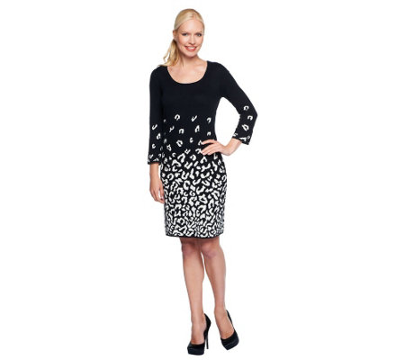 Isaac Mizrahi Live Leopard Doubleknit Dress —