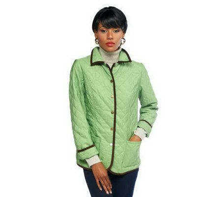 Joan Rivers Quilted Barn Jacket With Piping Detail Page