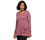 LOGO Lounge by Lori Goldstein French Terry Scoop Neck Top with Hip Pocket - A237535