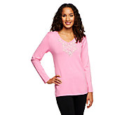 Quacker Factory Rhinestone and Pearl V-neck Pullover Sweater - A239135