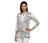 Susan Graver Liquid Knit Printed Split Neck Tunic with Crochet Detail - A253035