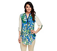Kelly by Clinton Kelly Floral Printed Hi-Low Hem Blouse - A254035